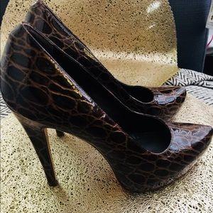 Brown crocodile print pumps